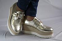 Туфли на платформе. Криперсы. Золото. Натуральная кожа. Туфли женские 1052