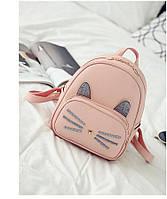 Рюкзак женский Кот с серебристыми ушками (розовый), фото 1