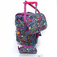 """Чемодан-рюкзак на колесах 16""""+сумка+ пенал """"Цветочки"""", DSCN0484"""