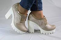 Закрытые туфли на устойчивом каблуке. Ботильоны. Натуральная кожа 0645