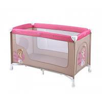 Детский манеж-кровать Bertoni NANNY 1L (beige&rose princess), боковой лаз