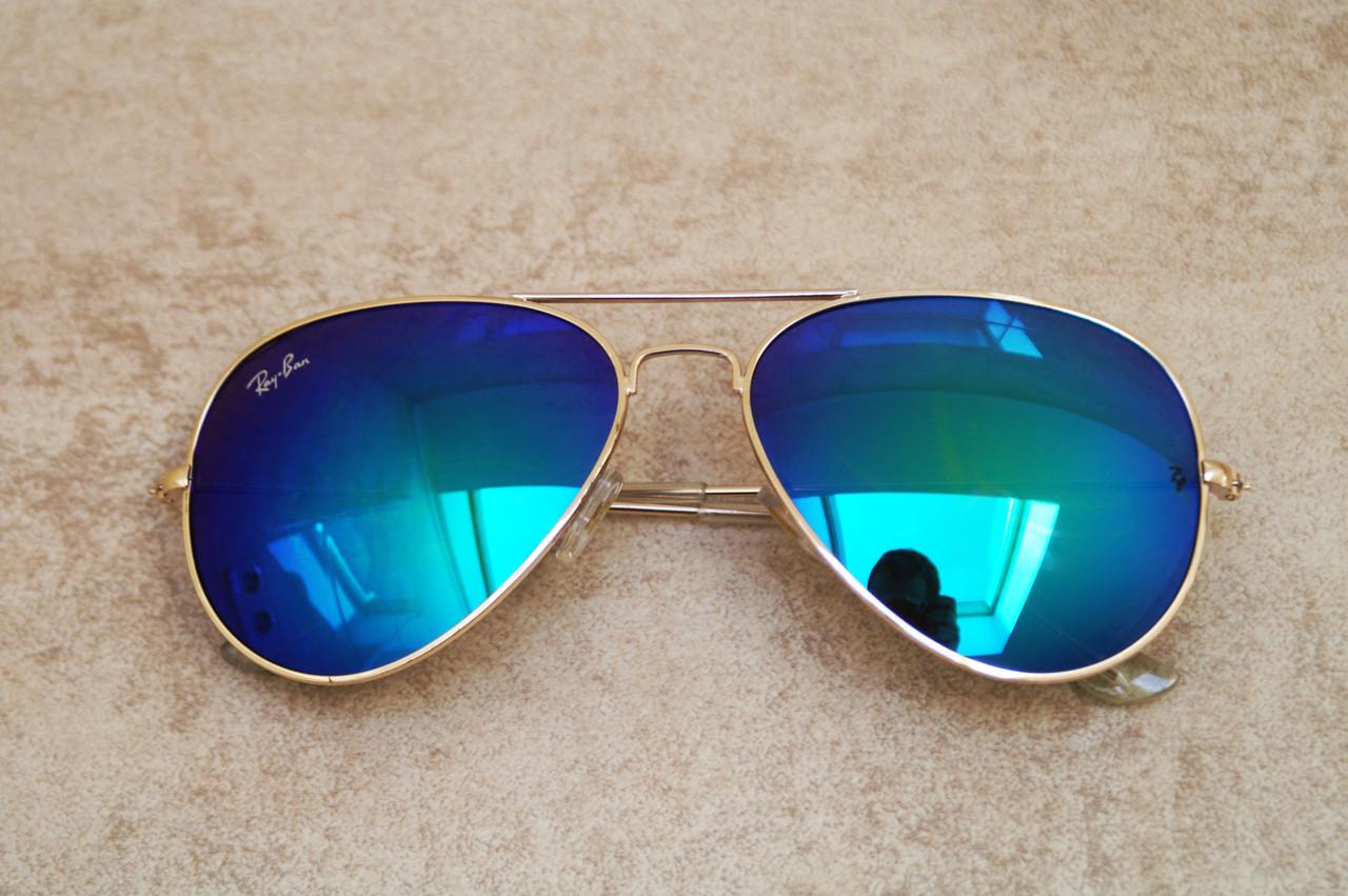 Cолнцезащитные очки Ray Ban Aviator сине-зеленые с золотой оправой (репліка)