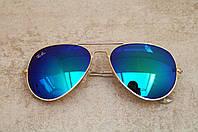 Cолнцезащитные очки Ray Ban Aviator сине-зеленые с золотой оправой