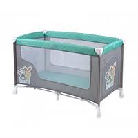 Детский манеж-кровать Bertoni NANNY 1L (grey&green bestfriends), боковой лаз