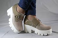 Туфли бежевые на платформе. . Натуральная кожа. Туфли женские 1053