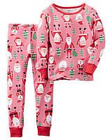 Детская трикотажная пижама с новогодним принтом Картерс для девочки
