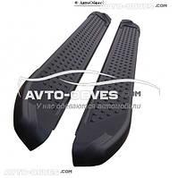 Защитные боковые подножки для Фольцваген Транспортер T5, в стиле БМВ Х5 CanOto black, кор (L1) / длин (L2)