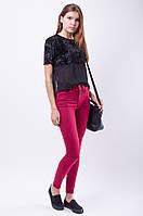 Марсаловые женские зауженные джинсы skinny с завышенной талией