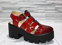Босоножки с закрытым носком на платформе. Переход цвета омбре. Натуральная кожа 0763