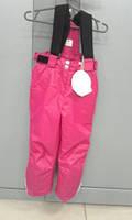 Зимние брюки для девочки на бретелях (малина)