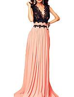 Длинное Вечернее Платье Персиковое Черное на свадьбу