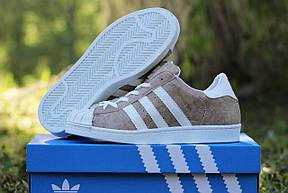Кроссовки женские Adidas Superstar светло коричневые , фото 3