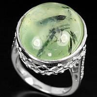 Серебряное кольцо с натуральным пренитом