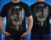 Черная двухстороняя мужская футболка с волком