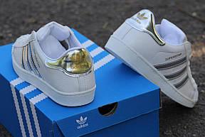 Кроссовки женские Adidas Superstar  белые с серебром, фото 2