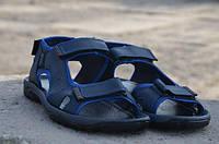 Мужские кожаные сандалии Ecco 12127 темно-синие