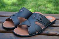 Мужские кожаные шлепанцы Ecco 12129 темно-коричневые