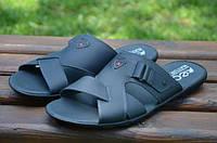 Мужские кожаные шлепанцы Ecco 12130 темно-синие