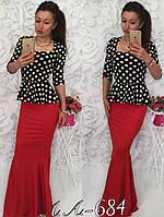 Платье вечернее в пол, Ткань тринотаж Длина 165 см Цвет верх горох низ красный ФОТО РЕАЛ аа№0684