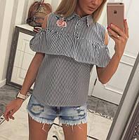 Блузка с вышивкой коттон - МБ1581