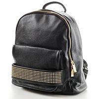 Черный кожаный рюкзак женский