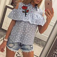 Блузка с вышивкой коттон - МБ1584