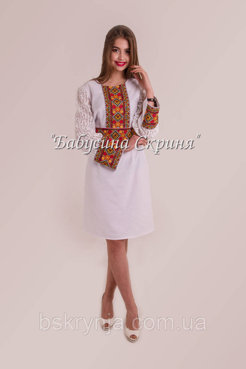 Заготівля жіночої сукні для вишивки нитками/бісером БС-122с