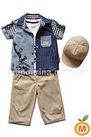Комплект для мальчика: шорты, рубашка, майка и кепка