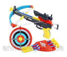 Арбалет іграшка, 3 стріли 24 см з присосками, приціл, мішень