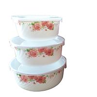 Набор салатников с крышкой 3шт (7,5', 6,5' , 5,5' ) 'Роза'