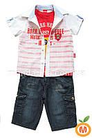 Джинсовые бриджи, рубашка и майка для мальчика