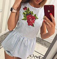 Блузка с вышивкой коттон - МБ1587