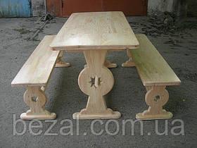 Мебель садовая из натурального дерева Аленка КОМПЛЕКТ стол+2 лавки