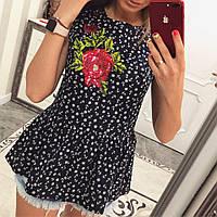 Блузка с вышивкой коттон - МБ1589