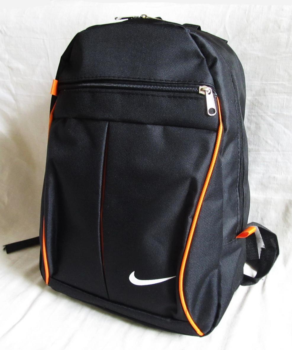 08a2b302 Рюкзак спортивный городской школьный Найк черный с оранжевым 38х27х13см, 13л