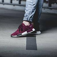 Кроссовки Adidas NMD замшевые бордовые