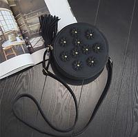 Модная черная женская сумка круглой формы в стиле ретро