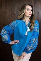 Синяя женская вышиванка из льна
