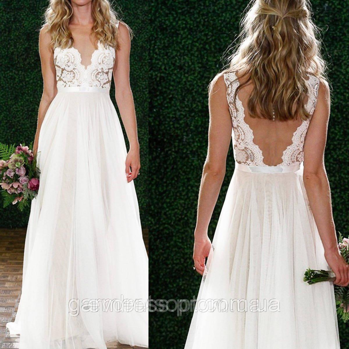 c787c4dec21 Пышное свадебное платье А-силуэт V-вырез - Интернет-магазин ev-dress