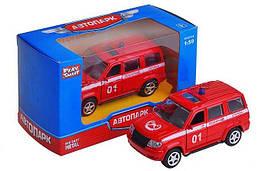 """Машина метал. """"Автопарк"""" пожарная, 1:50, откр.двери, рез.колеса, кор. 12*7*5,5см (144шт)"""