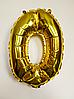 """Фольгированные шары цифры """"1"""" 16"""" (40 см) Золото"""