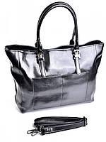 Кожаная женская сумка трапеция черного цвета 89001