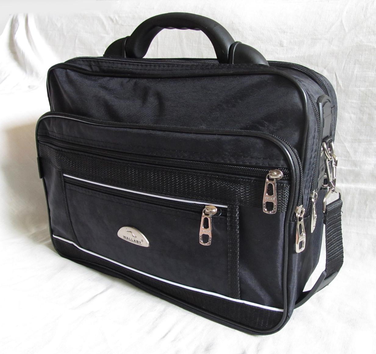 Мужская сумка полукаркасная элегантная папка на плечо портфель в2513 черная жатка 35х27х15см