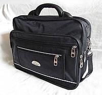 Мужская сумка через плечо барсетка деловая А4 жатка полукаркас 35х27х15см