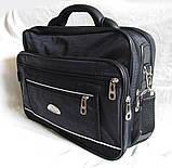 Мужская сумка полукаркасная элегантная папка на плечо портфель в2513 черная жатка 35х27х15см, фото 3