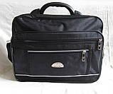 Мужская сумка полукаркасная элегантная папка на плечо портфель в2513 черная жатка 35х27х15см, фото 2