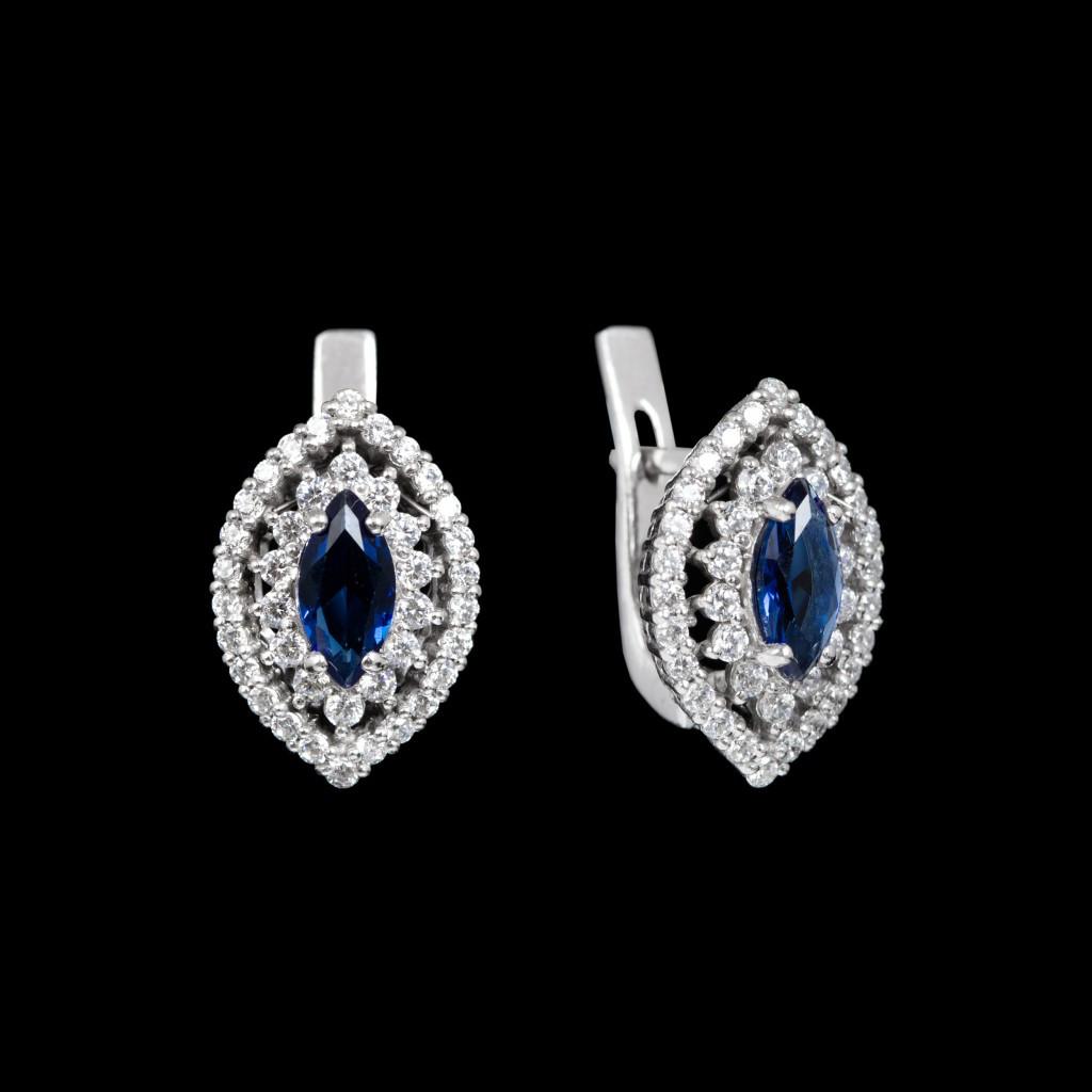Серебряные серьги Агра с синими камнями