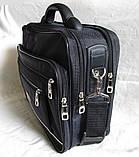 Мужская сумка полукаркасная элегантная папка на плечо портфель в2513 черная жатка 35х27х15см, фото 4