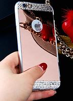 Зеркальный розовый силиконовый чехол со стразами для Iphone 5/5S