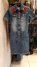Стильное джинсовое платье с вышивкой Турция lux